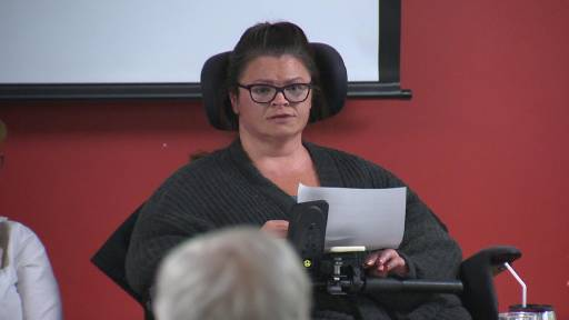 Disability advocate Joanne Larade speaking at a panel discussion in Halifax.