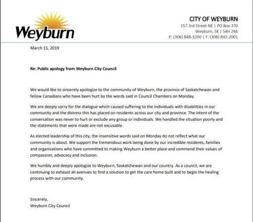 The apology issued by Weyburn city council on Friday, March 15 for their comments on denying a group home for people with disabilities.